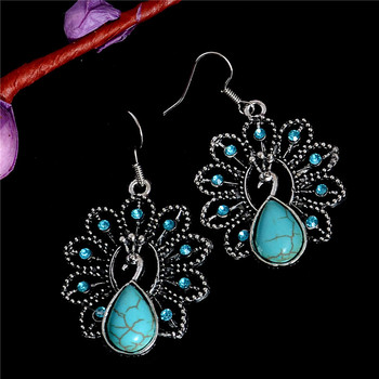 Vintage Bohemia Style Peacock Turquoise Stone Classic Pretty Turquoise Earrings for Women Hight Quality Fashion Jewelry