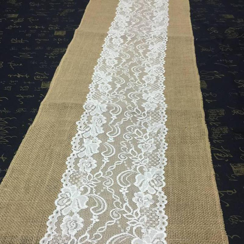 275cm*30cm Jute Lace dentelle Table Runners Wedding Party Banquet Decoration Linen fabrics Wedding Decoration Casamento(China (Mainland))
