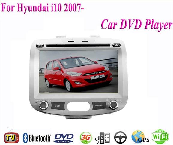 Car DVD Player Fit Hyundai i10 2007- 2009 2010 2011 2012 2013 2014 Car DVD Player GPS TV 3G Radio WiFi Bluetooth Wheel Control(China (Mainland))