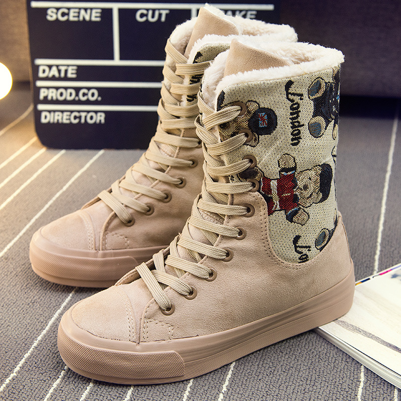 Autumn Winter Snow Boots Thick Plush Fut Cotton Flock Women Canvas Shoes Female Flat Martin Cashmere Warm Platform - Better&Better store