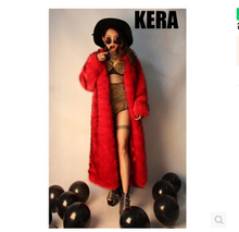 New Wome's brand DJ singer DS Atmospheric big red fur coat women long section nightclub stage costumes Imitation fox fur coat(China (Mainland))