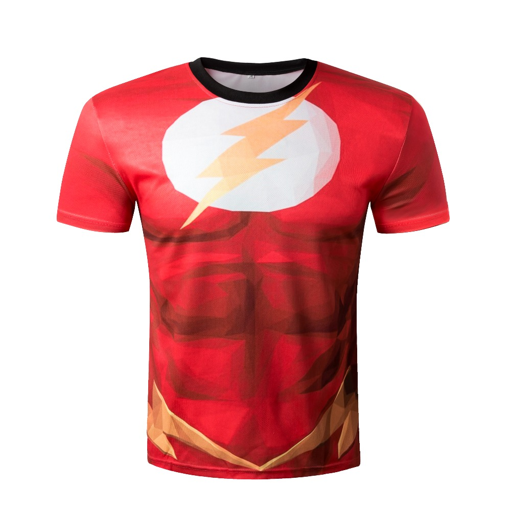 Hot sale 2016 summer Fashion high quality The Flash 3D t shirt 21 color Sport Tops Brand Men's Clothing funny t shirts(China (Mainland))