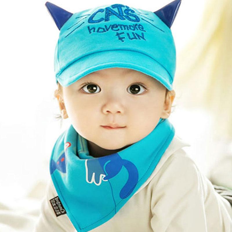 Kids Cap Bib Set Cat Fish Style Baby Hat for Boys Girls Children Infant Toddler Baseball Caps with Cotton Burp Cloths(China (Mainland))