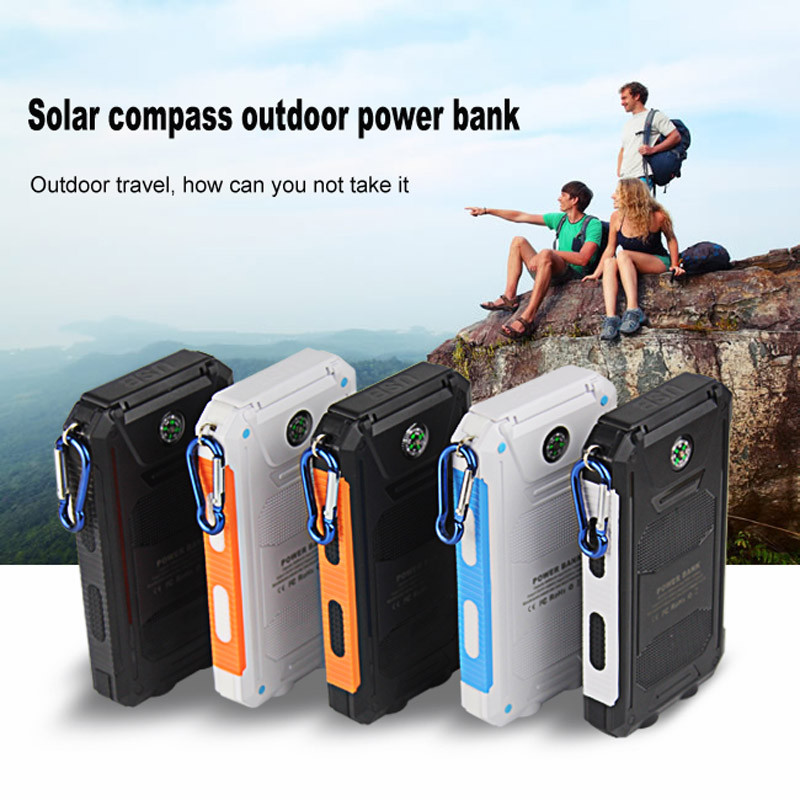 NEW Waterproof Solar Power Bank 10000mah Dual USB Li-Polymer Solar Battery Charger Travel Powerbank for all phone