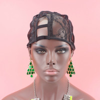 1PC XS XL XXL Right Part U part wig cap black color wig cap for making wigs with adjustable strap on the back weaving cap size
