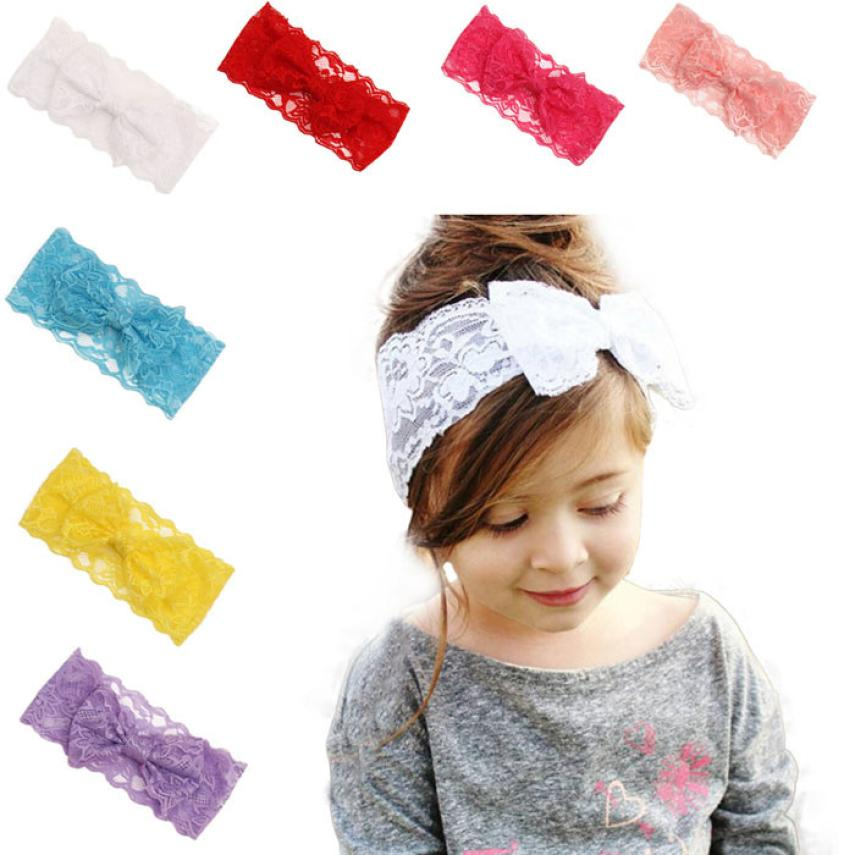 Children lace bow hair band Girls Lace Big Bow Hair Band Baby Head Wrap Band bow knot Accessories hair clips hair bow accesorios(China (Mainland))