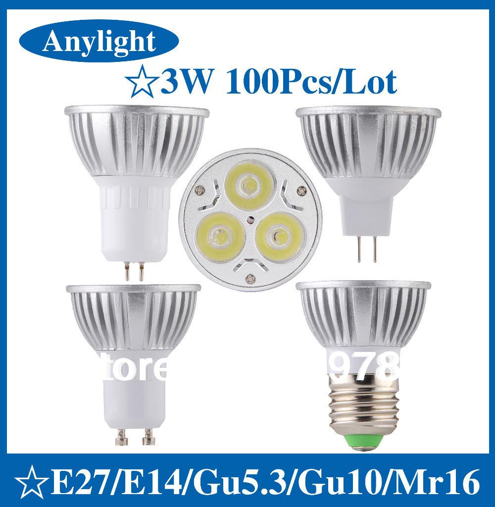 100 pcs/lot 3W E27/E14/Gu5.3/Gu10/Mr16 85-265V CREE CE Warm/Pure/Cold/White 270LM High Power LED Lamp/Spot lighting<br>