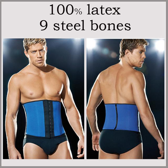 Мужчины талия обучение корсет стали кости тренер cдюймer похудения белье fajas латекс ...