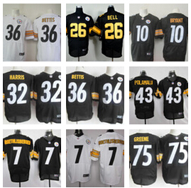 No1 A+ Pittsburgh Steelers Wallace Bettis Harris Polamalu Pouncey Woodley Lambert Miller BROWN Harrison Bradshaw bell(China (Mainland))