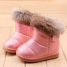 2014 children winter shoes kids snow boots rabbit hair Martin boots baby boys and girls shoes boots 3 colors