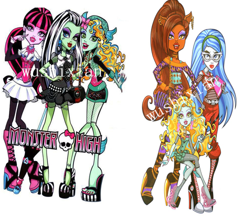 Free shipping , giant size Wall Stickers, monster high cartoon stickers, wholesale 2pcs/lot