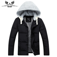 2016 mens winter warm downs jacket brand Thick cotton hat can be men down parka coat black Outdoor fashion sport hooded(China (Mainland))