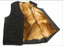 2014 Autumn and winter outdoor Men genuine leather quinquagenarian male fur one piece thermal fur vest(China (Mainland))