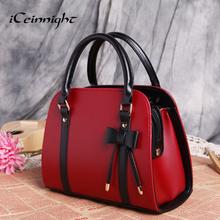 2016 New Popular Fashion bags women pu leather handbags Shoulder Messenger Bags for female bolsas bag ladies red black trunk bow(China (Mainland))