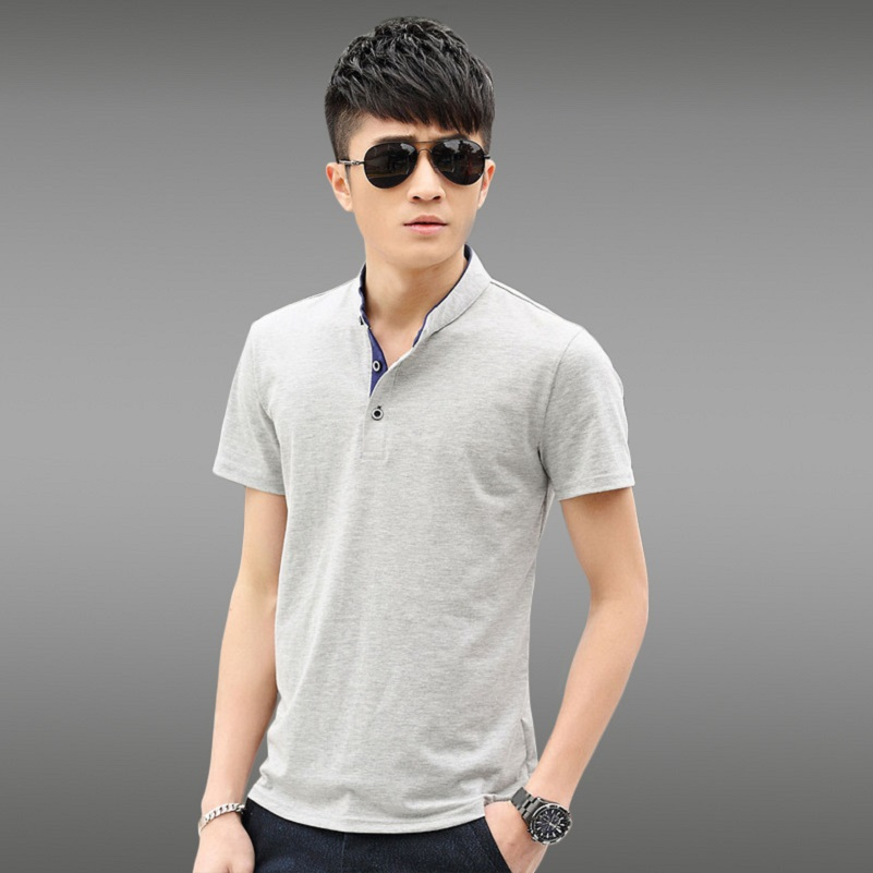2015 new products selling collar buttons short-sleeved cotton leisure cultivate one's morality summer style men Polo shirts(China (Mainland))