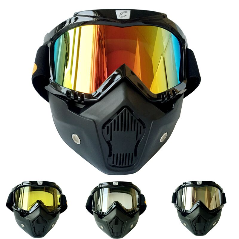2016 Mask Goggles Motocross Helmet Goggle Detachable Mouth Filter Fitting Open Face Helmet(China (Mainland))