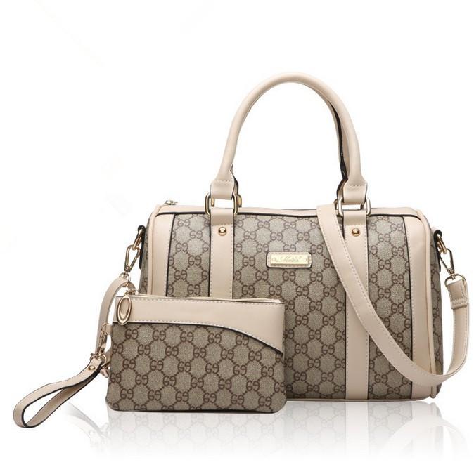 New Deluxe Famous Designers Brand Handbags Women PU PVC Leather Shoulder Tote Bags Beige Khaki Handbags Purse Bags Set(China (Mainland))