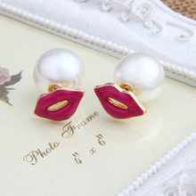 2016 The New Trend High Quality Sexy Red Mouth Pink Love Lip Charming Personality Pearl Stud Earrings For Women Jewelry