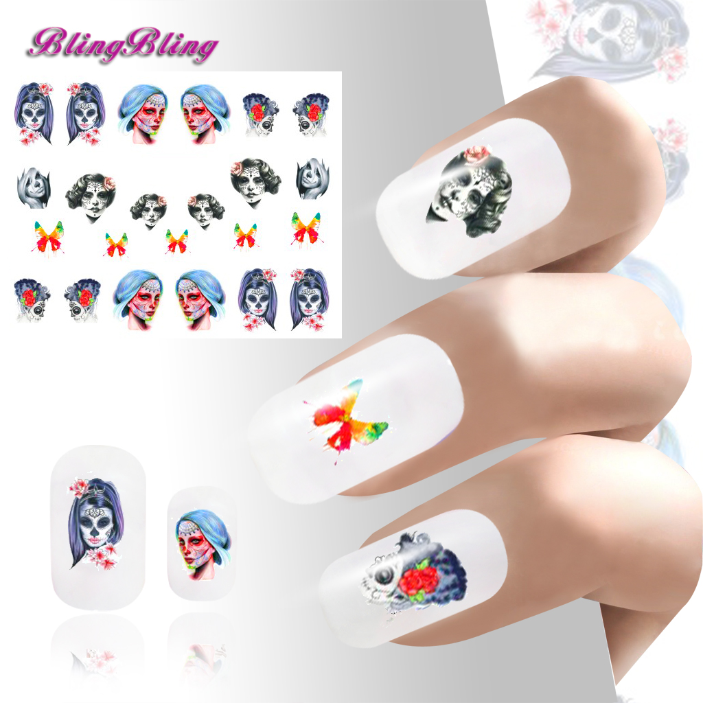 New DIY Nail Art Sticker Waterslide Stickers Decals Nail Wraps Halloween Costume Ideas For Nails Decoration Girl Women(China (Mainland))