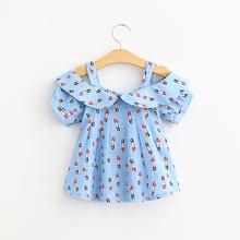Girls summer dress shirt lipstick  pattern female baby cotton sling short sleeved blouse