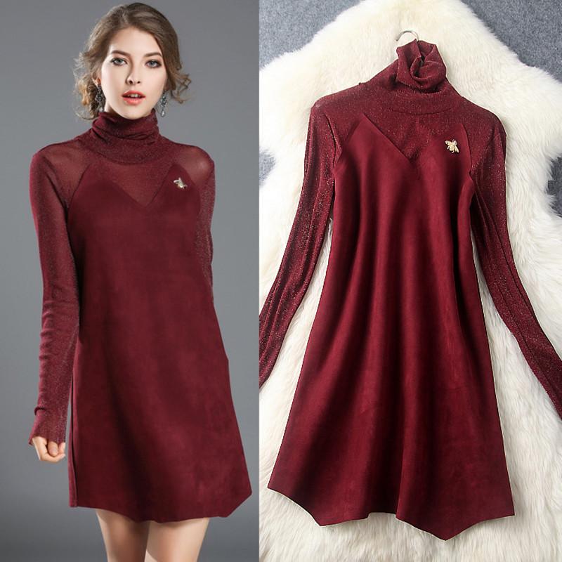 2016 Autumn new elegance high quality Bright silk Patchwork suede slim dress women Sexy Party Bodycon Vintage Vestidos Dress(China (Mainland))