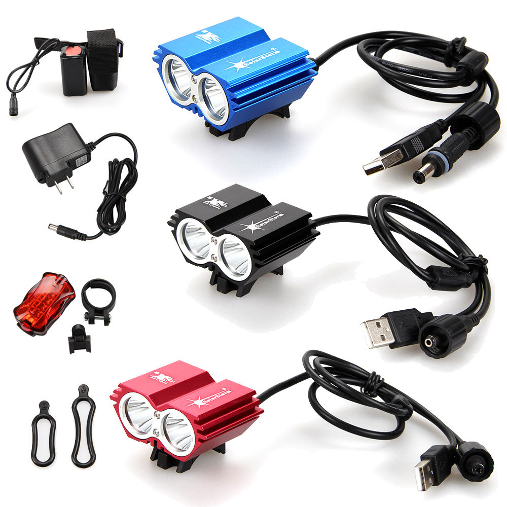 Free shipping New 5000Lumens 2x CREE XM-L2 LED USB Wire Bicycle bike Front Light Headlamp +6400mAh Battery +Charger+Rear light(China (Mainland))