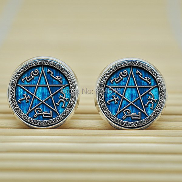 1pair Supernatural Devils Trap Earrings Studs jewelry glass Cabochon Earrings Post B3928(China (Mainland))