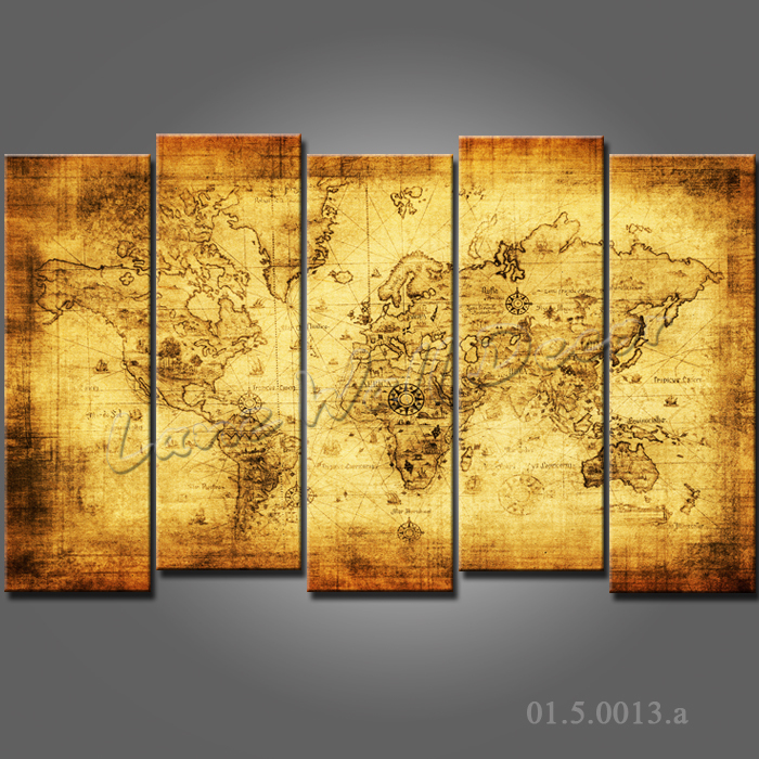 Framed 5 pieces canvas painting the world map ready to hang home decoration wall art pictures for living room canvas prints(China (Mainland))