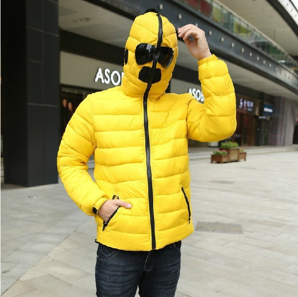 New Design Men's Winter Hoodies Jacket Warm Fashion Male With Glasses DustProof Overcoat Winter Cotton Padded Hooded Down Coat(China (Mainland))