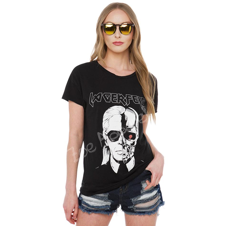 Summer style hot trendy cozy soft Punk black T-shirt Fashion cotton casual plus size women clothing Skull cool girl clothes(China (Mainland))