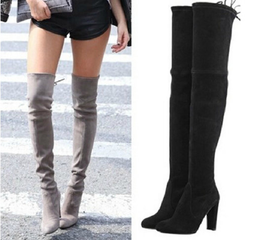 Woman Stretch Suede Slim Thigh High Heel Boots Sexy Over the Knee Boots for Women Overknee Shoes Ladies 2016 Black Grey Wine Red(China (Mainland))