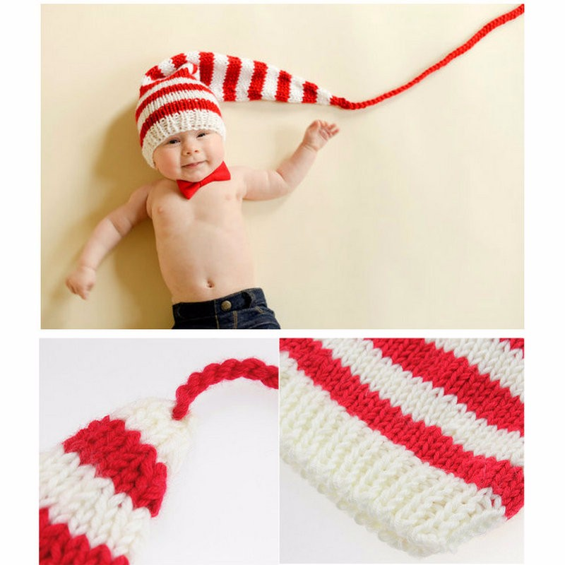 Cute Xmas Stripe Photo Costume Baby Cotton Long Tail Beanies For Boy/Girl Knit Crochet Newborn Photography Props SY114(China (Mainland))