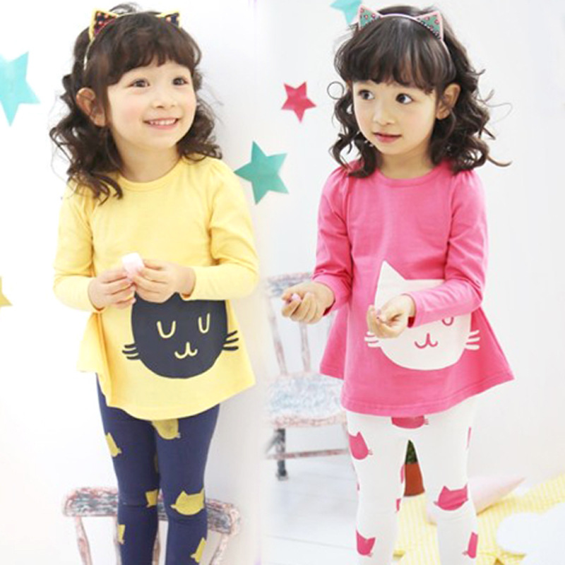 2014 new spring children's cartoon cat suit girls suit children sets free shipping(China (Mainland))