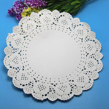 100pcs/pack 9.5inch White round paper pad Lace Doilies paper pad baking decoration baking package free shipping(China (Mainland))
