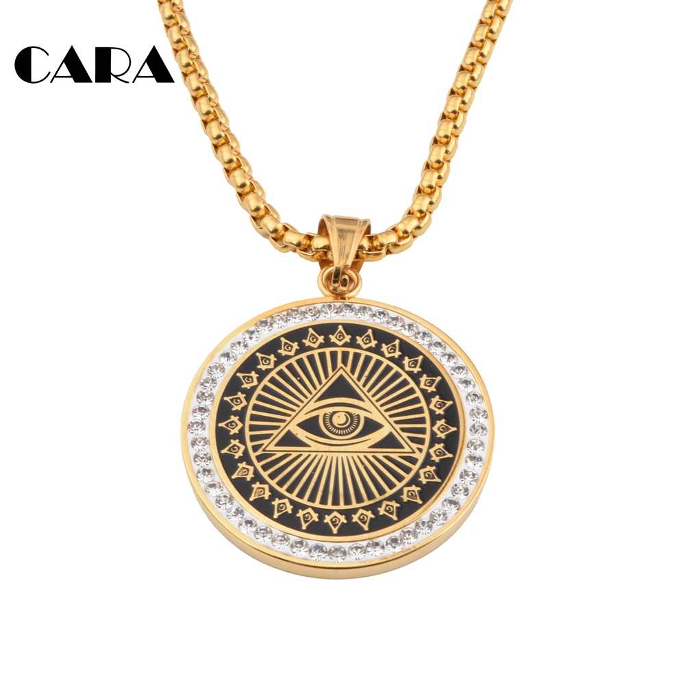 free shipping new high quality colo stainless steel free mason pendant punk hip hop necklace fashion men necklace cagf0018 - Free Colo