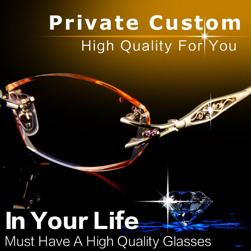 Luxury Eyeglasses Rimless Women Myopia Prescription Eye Glasses Diopter Rhinestone High Clear Lenses Gold Ladies Reading Eyewear