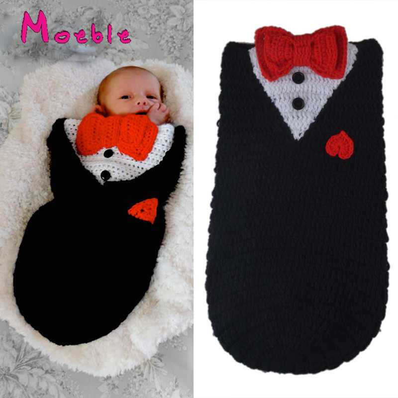 Latest Crochet Newborn Baby Sleeping Bags Photography Props Knitted Black Color Baby Unisex Photo Props Sleeping Sack MZS-16021(China (Mainland))