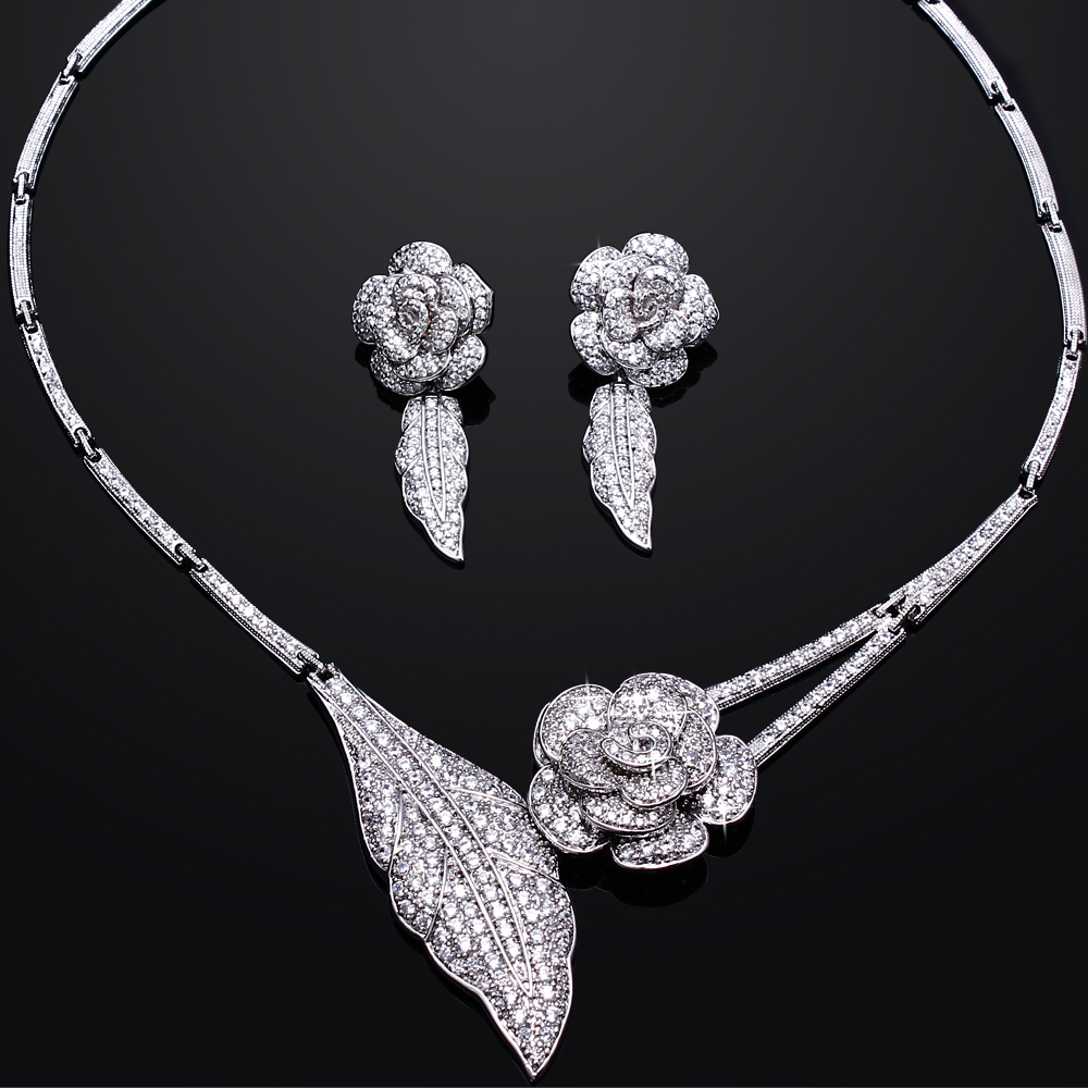Romantic Rose Wedding Bridal Jewelry Sets Real Gold Plated With AAA CZ Flower Necklace & Earrings Jewellerys set Free Shipping(China (Mainland))