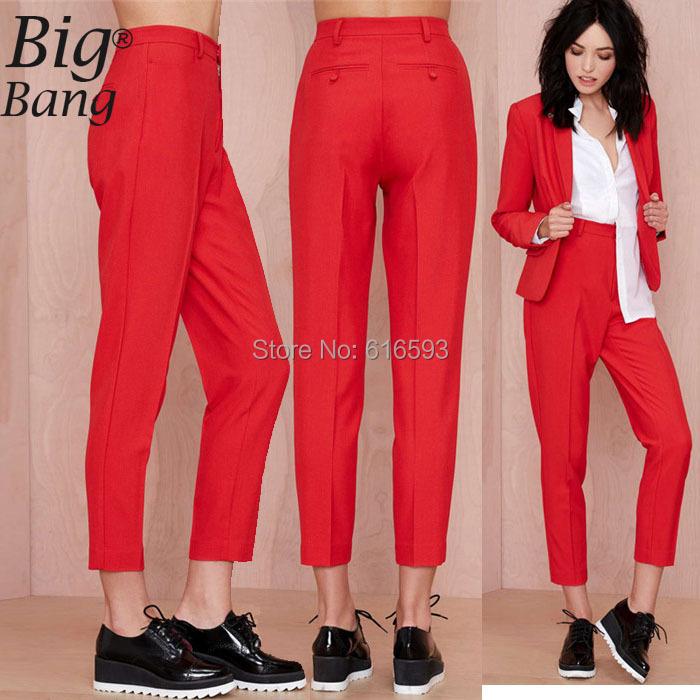 Vogue Suit Pants Plus Size XS-XXL 2015 New Arrival Women Pants Hot Sale Trousers Female Capris Formal Pants Red M15012714(China (Mainland))