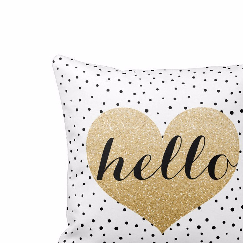 My House Hot Sale 100% brand new Heart Black Dots Square Throw Pillow Case Cushion Cover Home Decor Free Shipping Sep5