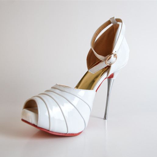 In Wedding Summer Patent Leather Sandals White Color Handmade Stiletto Cover Heels Buckle-Wrap Open Toe Elegant  Platform Shoes<br><br>Aliexpress