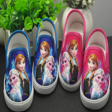 New 2016 Autumn Children's Shoes Girls Elsa Anna Cartoon Running Sneakers Kids Flat Shoes For Girls Size 28-33 2Color(China (Mainland))