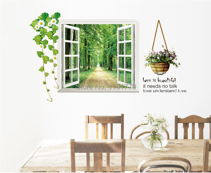 Free shipping wall sticker,home decoration,living room sticker,green fake window stickers,60*90CM tree wall decal(China (Mainland))