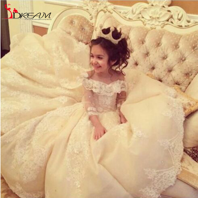 Flower Girl Dresses For Weddings With Train Lace Ball Gown