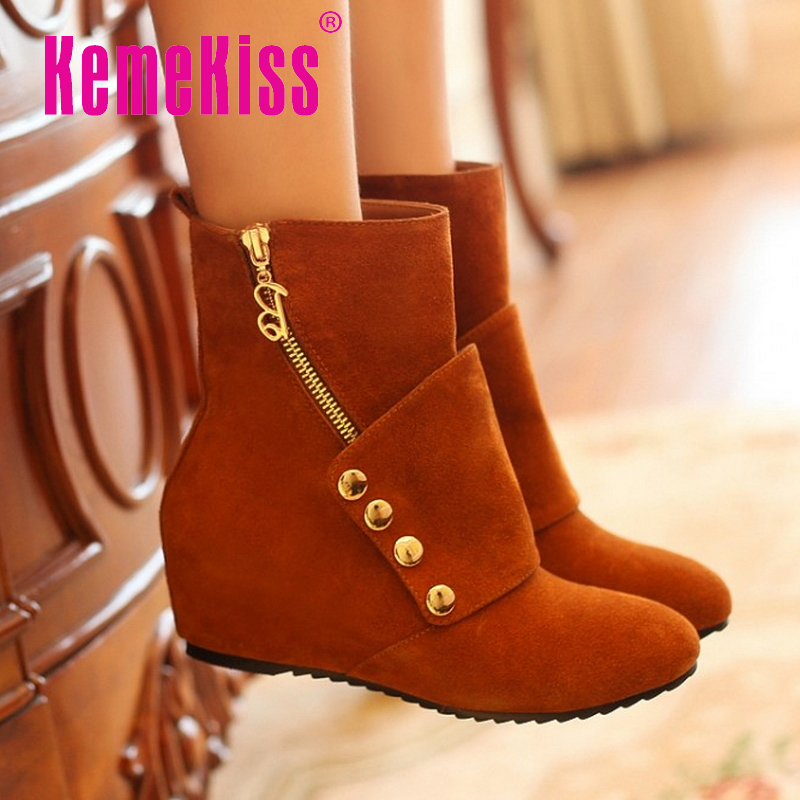 CooLcept Free shipping half ankle short natrual real genuine leather wedge boots women snow boot shoes R3206 EUR size 34-40<br><br>Aliexpress