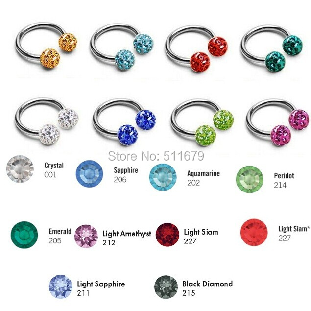 200pcs Mixed 10 Color Ferido Crystal Ball Epoxy Horseshoe Circular Barbell Nose Rings Labret Nipple Stud Piercing Body Jewelry<br><br>Aliexpress