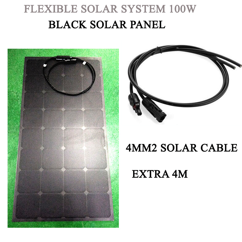 100W flexible solar panel with 4M extra solar cable with MC4 connector; Black solar panels 12VDC(China (Mainland))