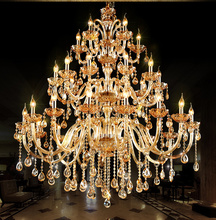 Villa Chandeliers Luxurious lobby Crystal chandeliers Golden double Staircase lighting X15 / 30 J QLL317(China (Mainland))