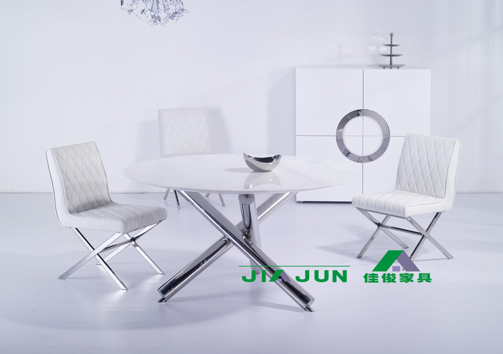 Round dining table marble / stainless steel dining table minimalist modern dinette / clubhouse dining / negotiating table 9031(China (Mainland))