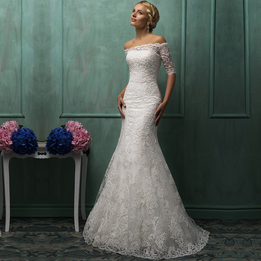 2015 vintage strapless lace mermaid wedding dress with for Strapless wedding dresses with long trains